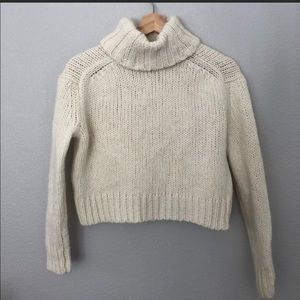 Crop J Crew Turtleneck Wool Cable Knit Sweater XS